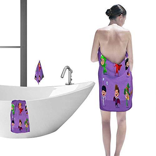 FootMarkhome Resistent Bath Towel Set - Group of Kids in Halloween Costume Super Absorbent Weave-3 Piece. -