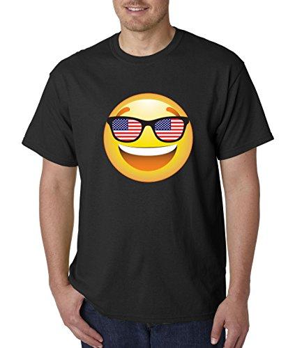 T-Shirt Emoji Smiley Face USA American Flag Sunglasses 4th July 4XL Black ()
