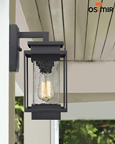 Osimir Outdoor Wall Sconce Light Fixture, 1 Light Exterior Wall Lantern in Black Finish with Crackle Glass Lamp Shade… - HIGH QUALITY OUTDOOR WALL MOUNT LIGHT: Made of sturdy metal construction in black finish, crackle glass lamp shade. Can be easily to match with other decoration style. Ideal for porch, patio, garden, corridor, balconies, terraces, garage door, villa, open field, entryway. WATERPROOF, WEATHER RESISTANT AND RUST RESISTANT: This outdoor wall sconce is ideal for residential or commercial use, able to protect against harsh weather conditions. HARD WIRED: Requires 1x E26 base, A60/ST58/G45 type bulb (Max 60W), Bulb NOT included.Compatible with LED bulb, Incandescent or CFL bulb. - patio, outdoor-lights, outdoor-decor - 41lfVN8GHGL -