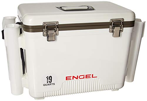 (Engel Cooler/Dry Box 19 Qt with Rod Holders - White)