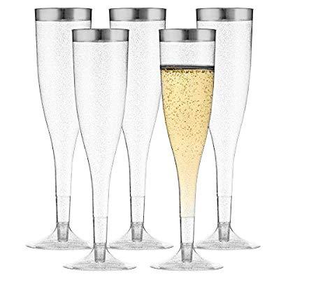 TasteOfQuality Silver Plastic Champagne Flutes – 50-Pcs , Silver Glitter, 6.5 Oz Heavy Duty Wine Glass, Clear Plastic Toasting Glasses, Silver Rim Champagne Flutes, Plastic Wine Glasses for Parties ()