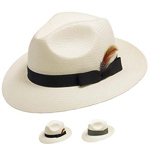 Fedora GULLPORT Reward Classic Straw Panama Hat Exotic Feather Ivory 7 1/8