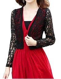 QD-CACA Womens Open Front Cardigan Short Sleeve Floral Lace Shrug Bolero