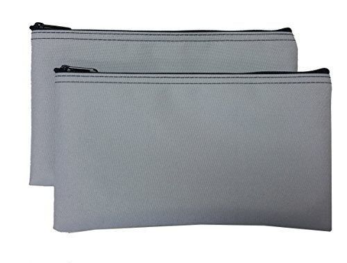 Travel Zipper Bags (2-Pack) Small, Compact, Portable Zippered Cloth Pouches for Men, Women, Kids | Store Toiletries, Makeup, Cosmetics, Tools, Pencils | Gray