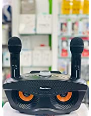 smart berry karaoke speaker S30 BLACK, wireless bluetooth connection with double mic, excellent sound,with usb, micro card and aux slots, compatible for iphones and android phones. slots,
