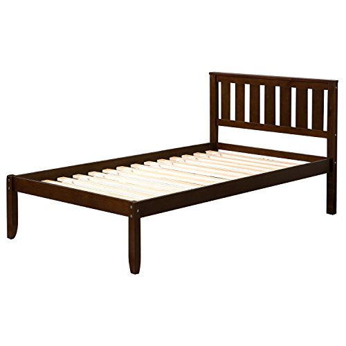 "Harper Bright Designs 12"" Deluxe Wood Platform Bed with Headboard/Wood Slat Support/No Box Spring Nedded Twin (Esprosso.)"