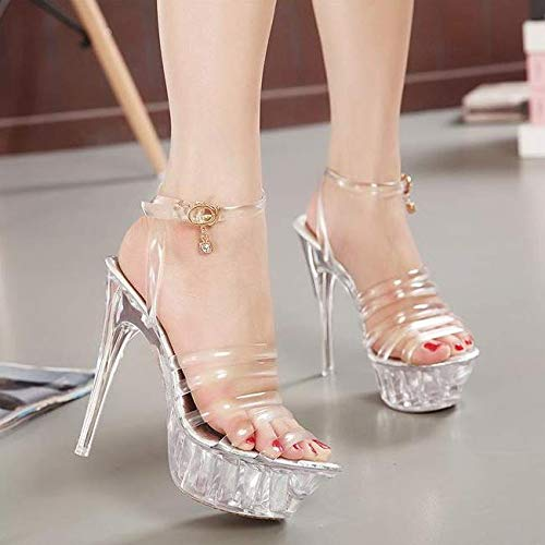 Heel Crystal Sandals Fashion Club Shoes 14Cm Walking SFSYDDY Shoes transparent Night Dance High Sexy 0Yqx08SU