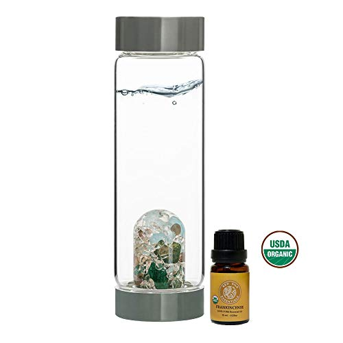 VitaJuwel Gem Water Bottle ViA - Forever Young w/Free Organic Frankincense Essential Oil (Oils Water Essential Bottle)