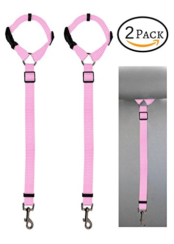 Doggy Car Headrest Restraint - Animal Safety Seat Belt Strap - Adjustable Nylon Fabric Harness for Dog – Easy Vehicle Travel with Pet – Durable Zipline & Tether Backseat for Traveling (pink)