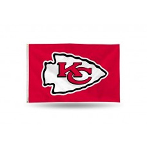 Rico NFL Kansas City Chiefs 3-Foot by 5-Foot Single Sided Banner Flag with ()