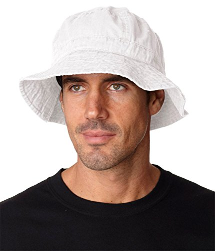 Adams Vacationer Pigment Dyed Twill Bucket Cap (White) (L) (Solid Twill Dyed Pigment Cap)