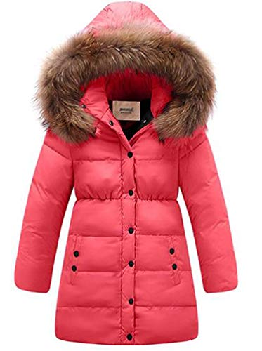 Seeduck Big Girls' Winter Parka Down Coat Puffer Down Jacket Padded Overcoat with Fur Hood (12T=160CM=63 Inch, Rose Red) -