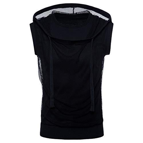 (Mens Summer Hoodie Vest Tronet Fashion Mesh Fit Sleeveless Singlet T-Shirt Top Vest)