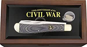 Rough Rider Knives 1228 Robert E Lee Jumbo Trapper with Wood and Glass Display