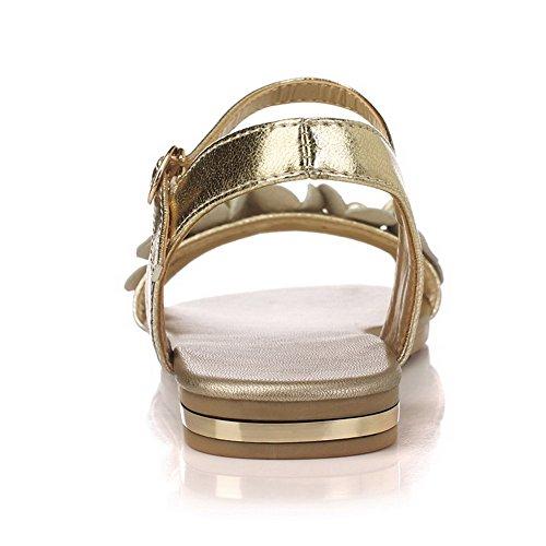 Sólidos Gold Flats mujer Materials abierta Blend Hebilla para VogueZone009 Sandals No Punta Heel 7AwnzRRgq6