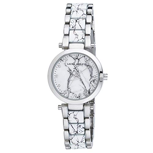 Ashley Silver Bracelets - Laura Ashley LA31036SS Ladies White and Silver Marbleized Inner Link and Dial Bracelet Watch
