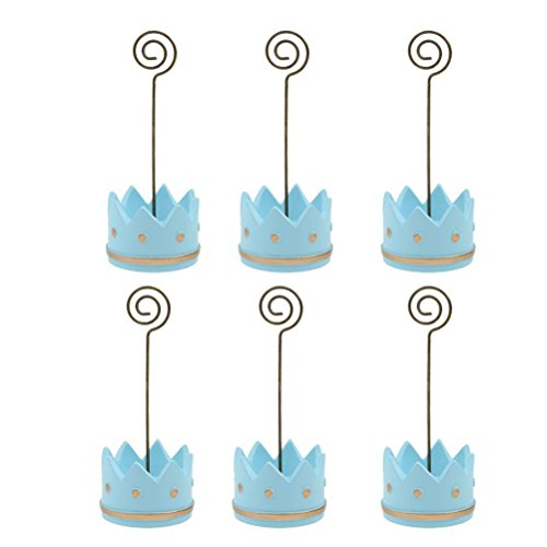 PIXNOR 6pcs Baby Prince Crown Place Card Holders ()