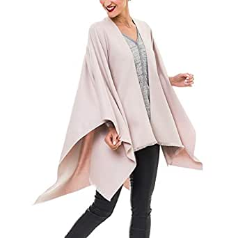Cardigan Poncho Cape: Women Elegant Beige Cardigan Shawl Wrap Sweater Coat for Winter (Beige)