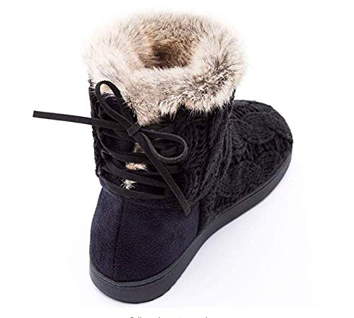 Suede Shoes Lace amp; Adjustable Memory Outdoor Indoor ULTRAIDEAS w Knit Women's Bootie Foam Yarn Cable Black Slippers BPwTx6UqP