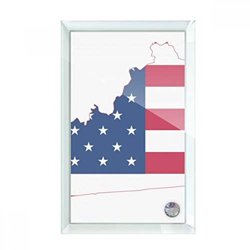 beatChong Kentucky USA Map Stars Stripes Flag Shape Desktop Crystal Art Painting Glass Artwork Decoration 7x5