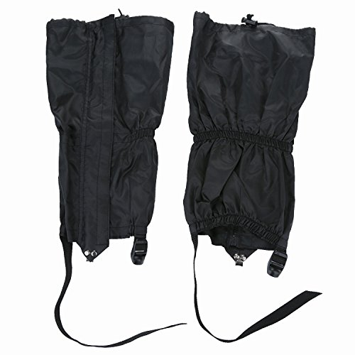 1 Pair Jet Black Unisex Double Sealed Zippered Closure TPU Strap Waterproof 400D Nylon Cloth Leg Gaiters Leggings Cover for Boots Shoes Lower Legs Pants Jeans Trousers