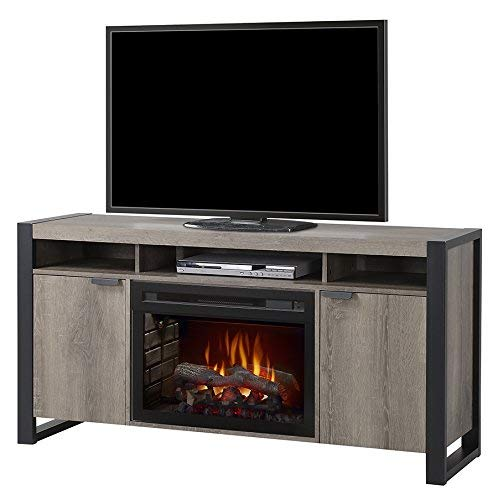 DIMPLEX Electric Fireplace, TV Stand, Media Console, Space Heater and Entertainment Center with Natural Log Set in Steeltown Finish - Pierre #GDS25LD-1571ST