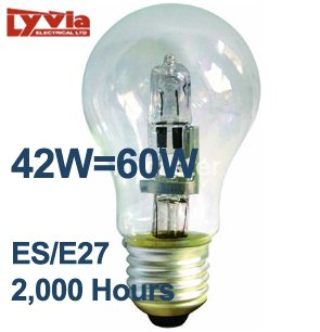 1x Lyvia EnergySaver (42w=60w) GLS Xenon Lamp (ES/E27) - Natural ...