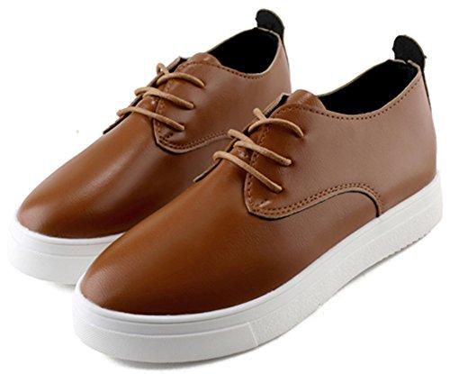 Comfortabele Damesschoenen Van Idifu-dames Lage Oxfords Ronde Neus Platte Casual Sneakers Khaki