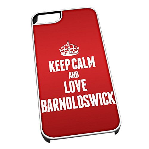 Bianco cover per iPhone 5/5S 0042Red Keep Calm and Love Barnoldswick