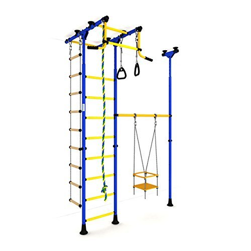 Indoor Kids Playground Play Set / Training Gym Sport Set with Accessories Equipment: Swing, Climber, Rope ladder, Rope and Gymnastic Rings / Suit for Apartment, School and Playroom / Carousel R33