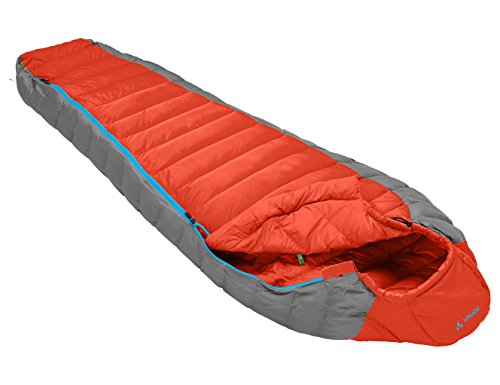 VAUDE Cheyenne 350 - Very Lightweight & Comfortable Down Sleeping Bag - Mummy Shape - Perfect for Backpacking, Hiking and Camping - 2 season for late Spring to early Autumn Use - Orange from VAUDE