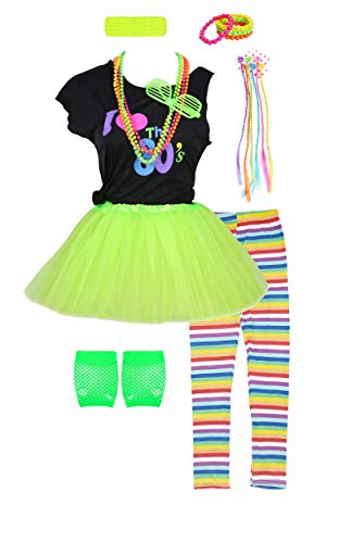 Girls 80s T-Shirt Costume Outfit Accessories Headwear Skirt Leggings Gloves (7/8, Green)