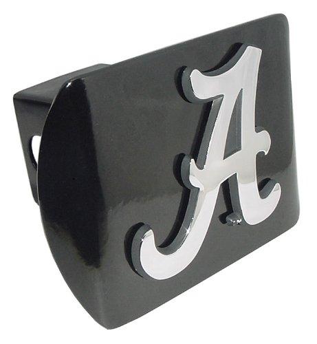 Alabama Trailer Hitch Cover - University of Alabama Crimson Tide Black with Chrome Plated Metal