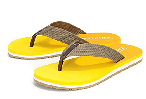 Bronze Times(TM) Mens Unicolor Sandy Thong Sandal Flip Flop Yellow wucDlgIM