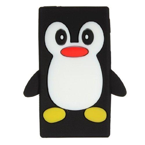 iPod Nano 7 8 7th 8th Generation Penguin Cartoon Case - Tsmine Cute 3D Penguin Soft Silicone Back Washable Cover Case Protective Skin for Apple iPod Nano 7th 8th Generation, Black Black Ipod Nano Protective Cover