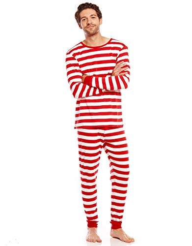 Leveret Men's Pajamas Fitted Striped Christmas 2 Piece Pjs Set 100% Cotton Sleep Pants Sleepwear (XX-Large, Red/White)