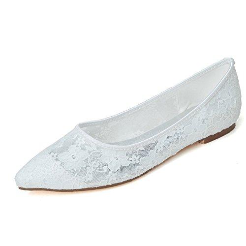 5 di per trasparente bianco UK4 7 sandalo a piatta donne US6 punta 5 EU37 Merletto 5 ITxRwqvYAI