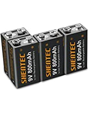 4-pack Shentec 9 V 800 mAh litiumjonuppladdningsbara 6F22 PP3-batterier kapacitet låg självurladdning litiumjonuppladdningsbara batterier
