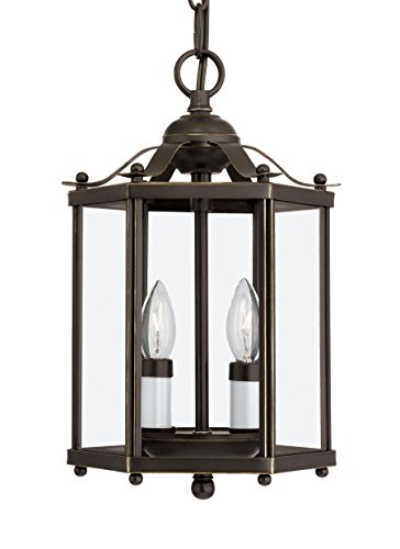 Front Street Lighting Bretton Two-Light Semi-Flush Convertible Pendant with Clear Glass Panels, Heirloom Bronze Finish (Bretton Pendant Lighting)