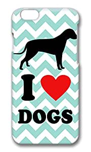 VUTTOO Cute I Love Dogs Aqua Chevron Hard Case Protective Shell Cell Phone Cover For Apple Iphone 6 Plus (5.5 Inch) -PC 3D