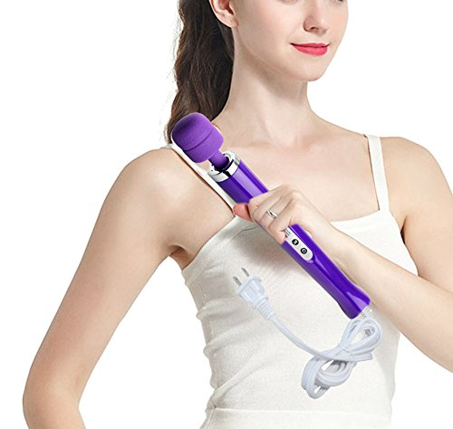 10 Speeds Wired Powerful Handheld Wand Massager with Strong Vibration, Personal Therapy Massager for Sports Recovery, Muscle Aches, Body Pain Purple