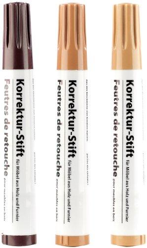 AGT Korrektur-Stift für Möbel aus Holz & Furnier, 3er-Set