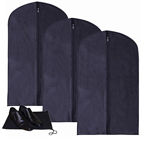 Deluxe Breathable 3pc Blue Suit Garment Bags with Shoe Bag - NAVY