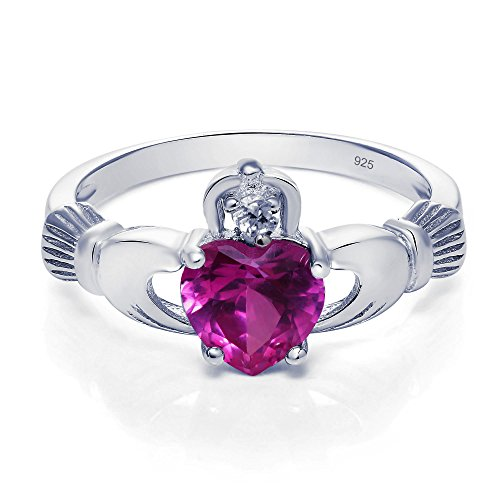 (Sterling Silver Claddagh Promise Ring For Her with Simulated Rose Pink Sapphire And Cubic Zirconia, 8mm (8))