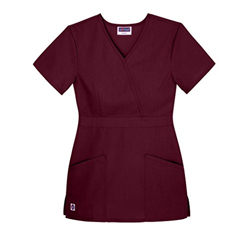 Sivvan Women's Scrubs Mock Wrap Top (Available in 12 Colors) - S8302 - Burgundy - -