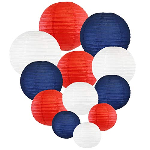 Just Artifacts Decorative Round Chinese Paper Lanterns 12pcs Assorted Sizes & Colors (Color: Red, White & Blue)