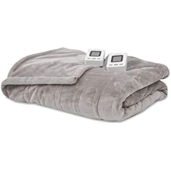SensorPedic Heated Electric Blanket with SensorSafe, Queen, Soft Grey