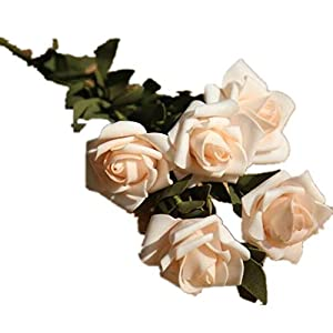 COLOV Simulation Rose Artificial Flower Wedding Party Home Decoration(Champagne 18.5) 76
