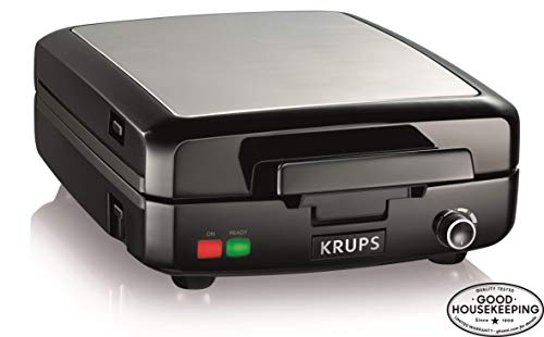 KRUPS Belgian Waffle Maker, Waffle Maker with Removable Plates, 4 Slices, Black and Silver (Standard Waffle Iron)