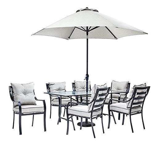 - Patio Dining Set. 7 Piece Outdoor Porch, Deck, Lawn, Pool, Garden, Balcony Diner, Conversation, Seating, Bistro, Chat Steel Furniture Kit with Fire Pit. Outside Square Table, Chairs, Cushions (Grey)